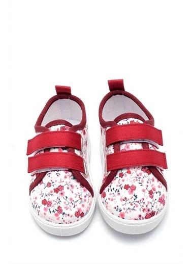 First Step  Çiçek Desenli Çift Cırtlı Keten Çocuk Ayakkabısı--F-498 Bordo